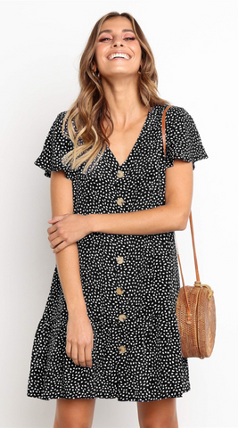 Black Dot Button Up Short Sleeve Dress