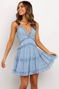 Sky Blue Floral Crossover Back Dress