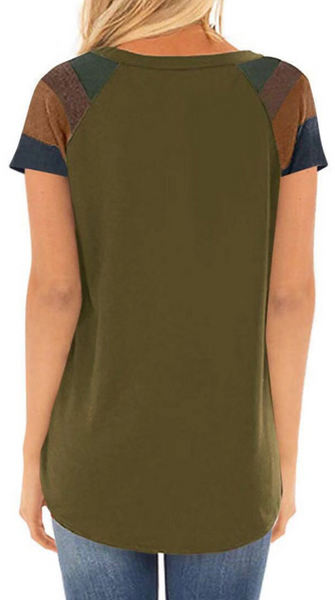 Olive Green Pockets Short Sleeve Tee