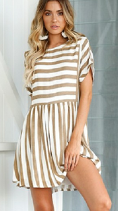 Khaki Stripe Pleated Skater Dress