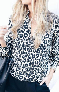 White Leopard Print Button Down Shirt