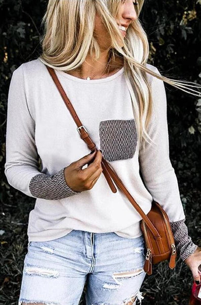 White Patterned Pockets T-Shirt