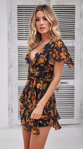 Yellow Floral Plunging Chiffon Mini Dress