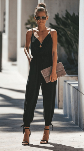 Black Surplice V Neck High Slits Jumpsuits