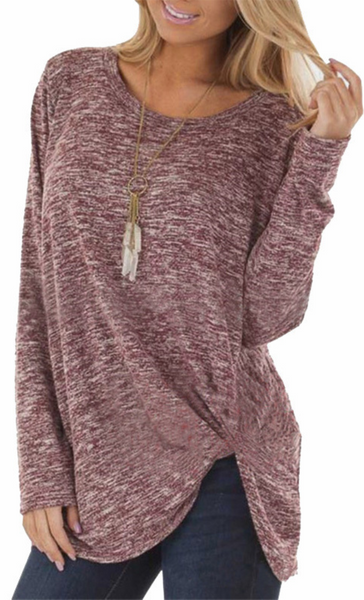 Heather Front Knot Long T-Shirt