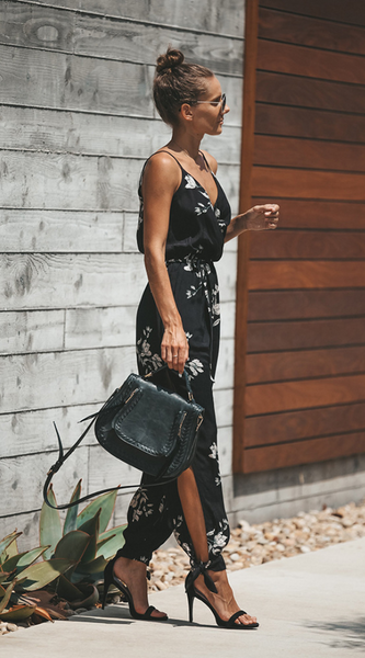 Black Floral Surplice V Neck Jumpsuits
