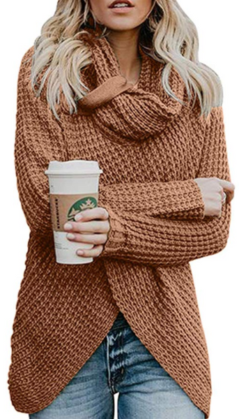 Button Turtleneck Knit Cardigan