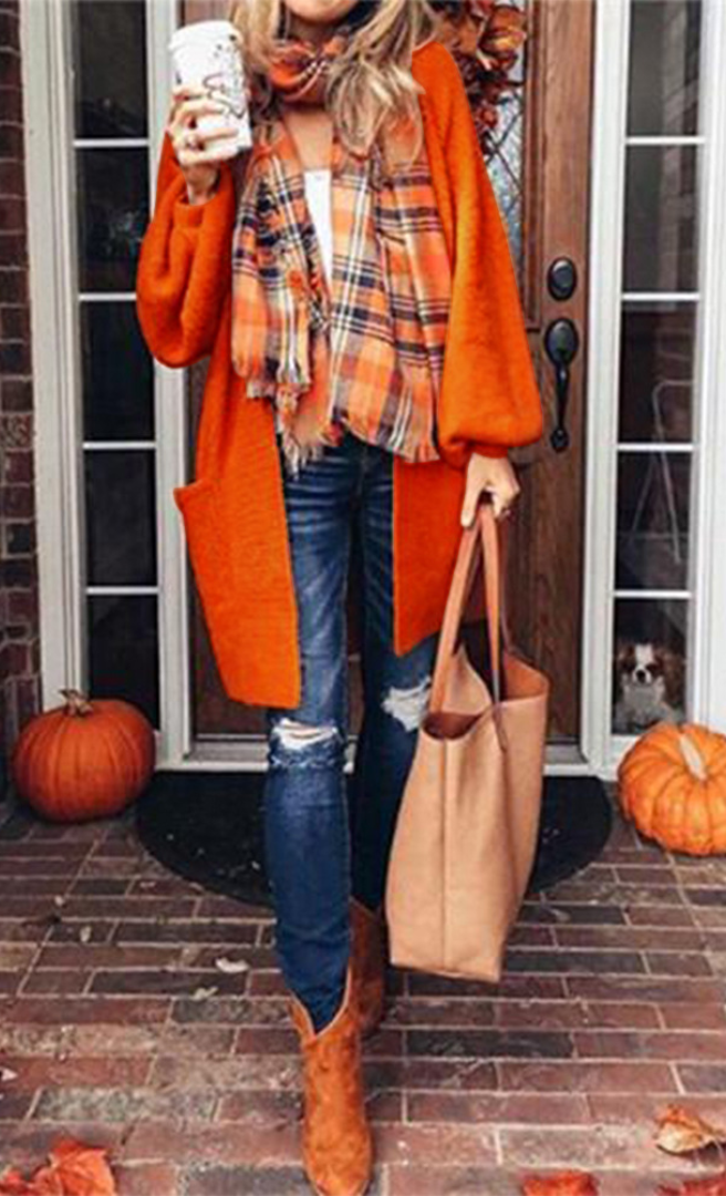 Orange Pumpkin Longline Knit Cardigan