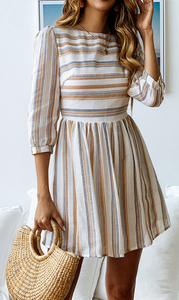 Minimal Stripe Pleated Dress