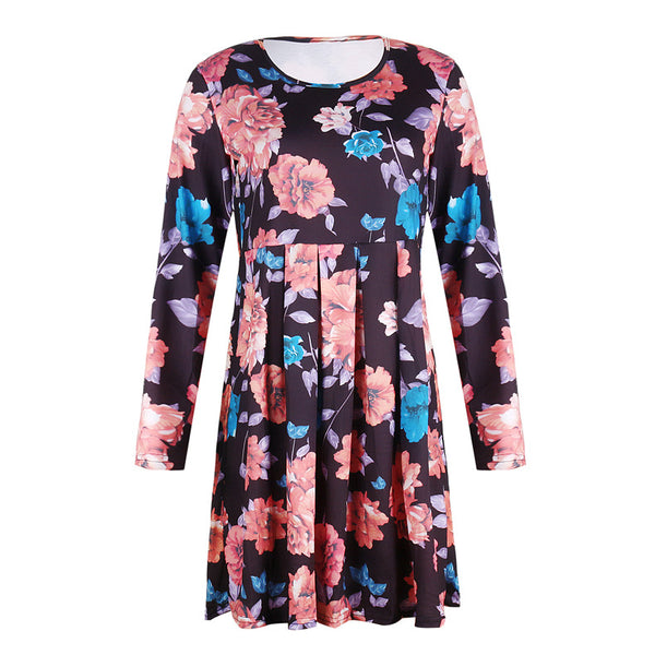 Black Floral Pleated Long Sleeves Dress