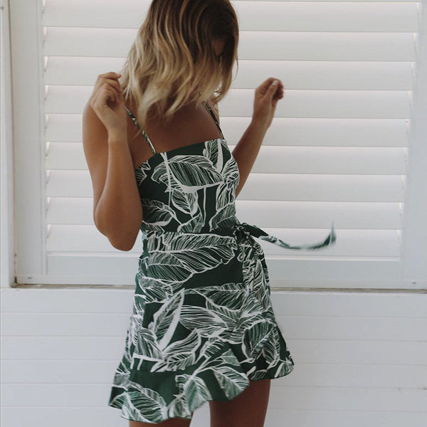 Green Foliage Silhouette Slip Dress