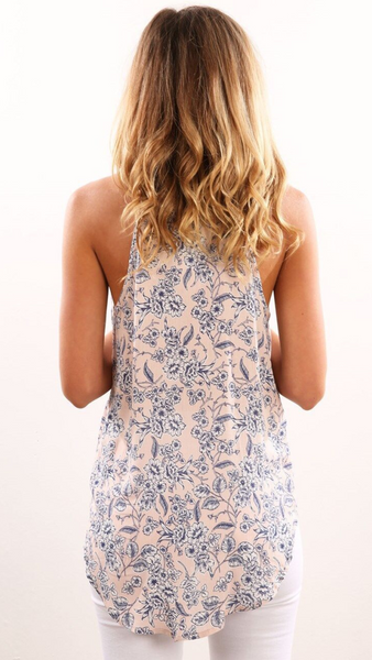 Coral Floral Silhouette Print Camisole