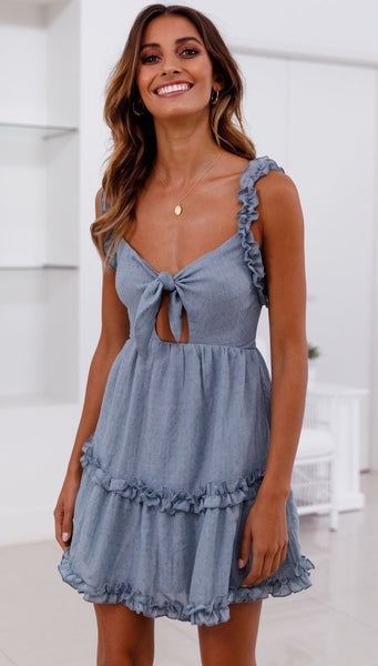 Blue Bowknot Frill Backless Dress