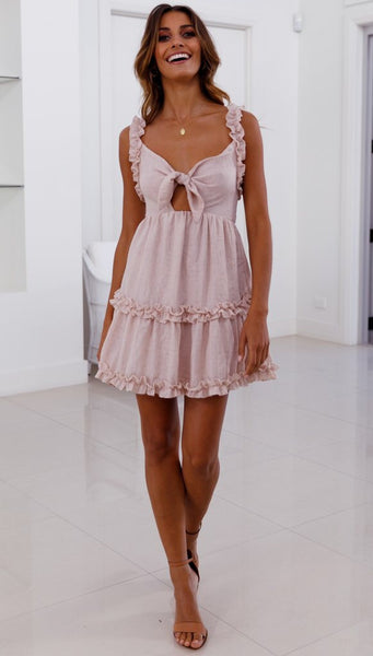 Pink Bowknot Frill Backless Dress