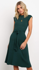 Olive Green Knit Midi Dress