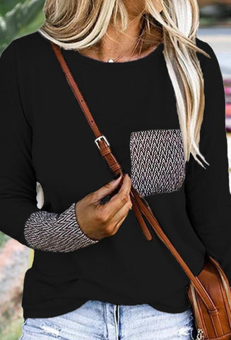 Black Patterned Pockets T-Shirt