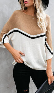 Khaki White Block Batwing Knit Sweater