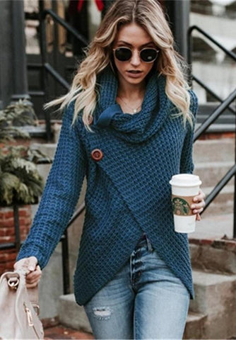 Turquoise Button Turtleneck Wrap Cardigan