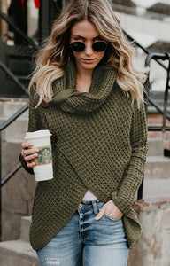 Olive Green Button Turtleneck Wrap Cardigan