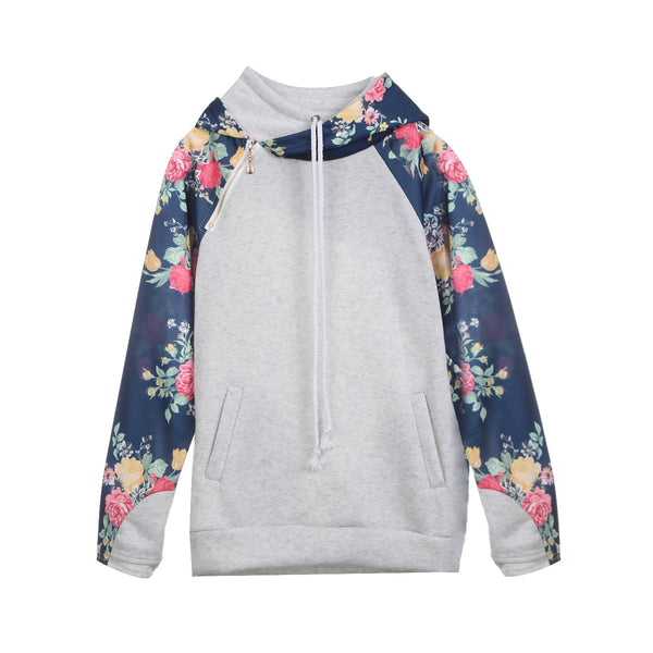 Light Gray Floral Zipper Hoodie Sweatshirt