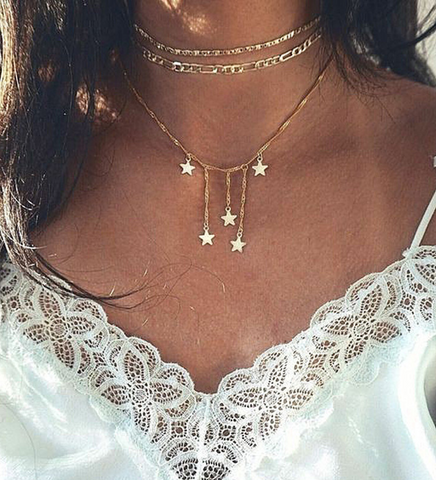 Stars Pendant Layered Necklace