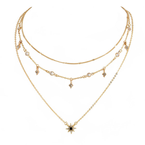 Bejeweled Stars Pendant Layered Necklace