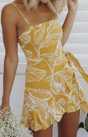 Yellow Foliage Silhouette Slip Dress