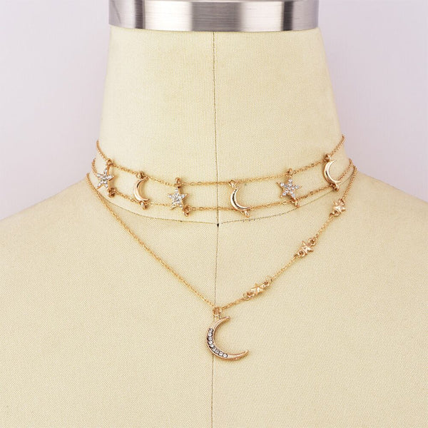 Star Moon Choker Necklace