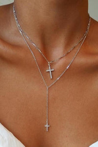 Double Cross Layers Necklace