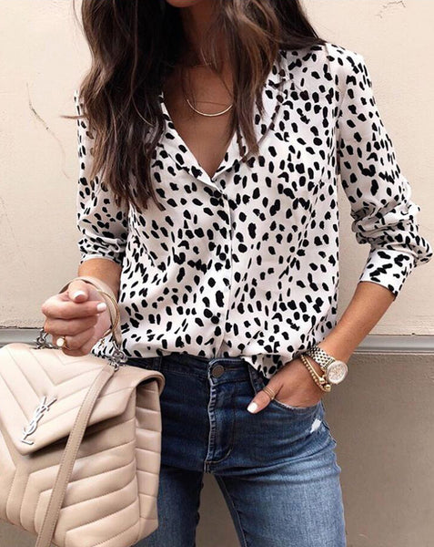 White Animal Print Button Down Shirt