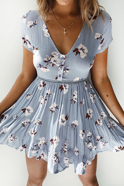 Blue Rose Skater Dress