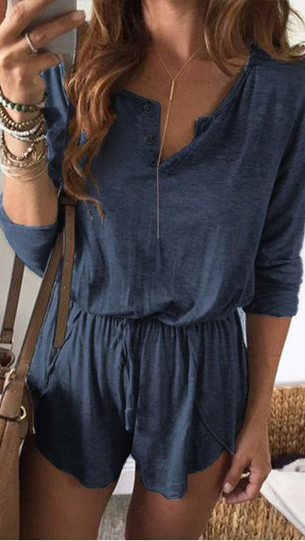 Navy Long Sleeves Withdraw Rompers