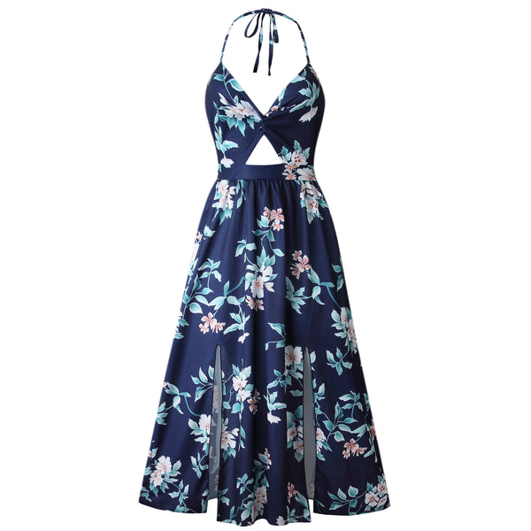 Navy Floral Knot Split Maxi Dress