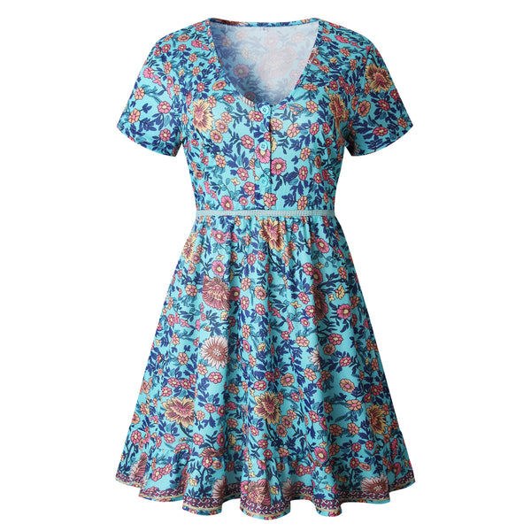 Teal Sunflower Skater Dress