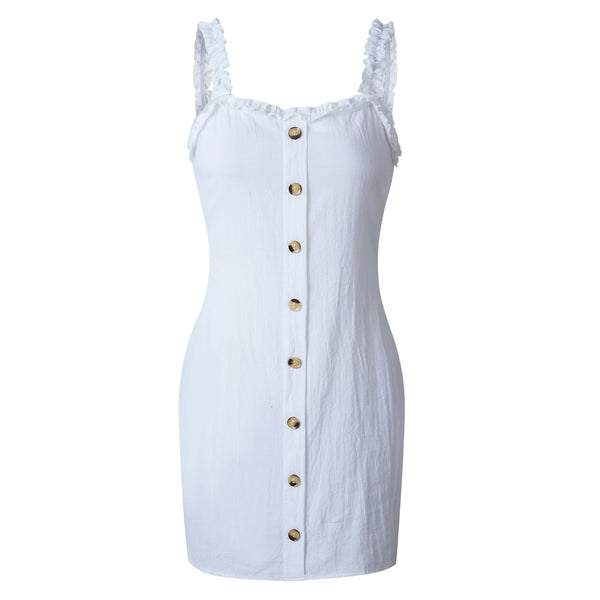 White Bodycon Button Down Mini Dress
