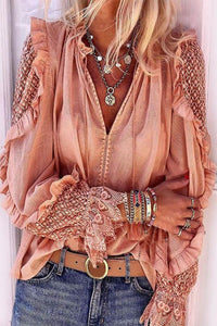 Crochet Lace Paneled V-neck Blouse