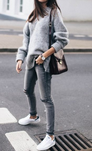 Grey Oversize Chunky Pullover Sweater