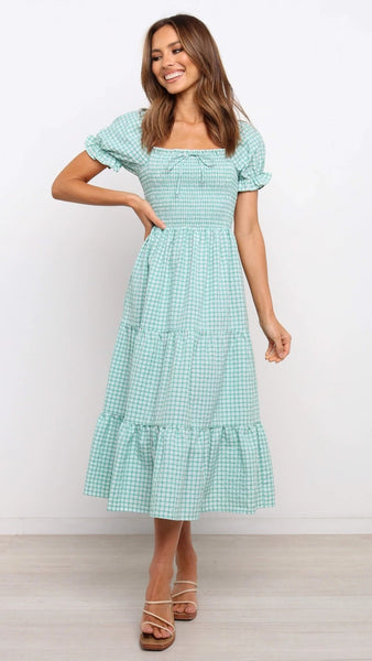 Mint Green Plaid Midi Dress