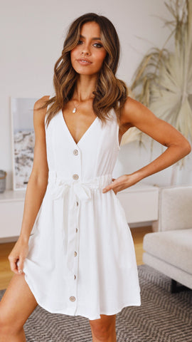 White Button Down Waist-Knot Dress