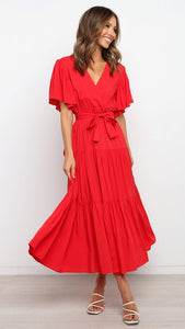 Red Surplice Waist-Tie Dress