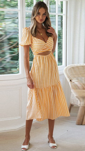 Orange Plaid Surplice Midi Dress
