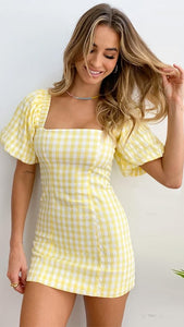 Yellow Plaid Bodycon Dress