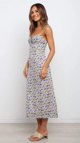 Violet Floral Knot Slip Dress