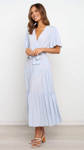 Baby Blue Surplice Waist-Tie Dress