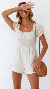 White Square Neck Smocked Rompers