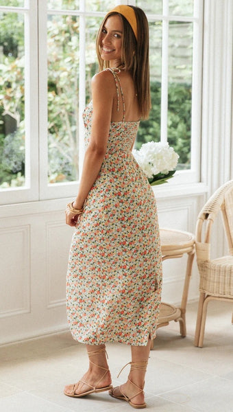 Spring Floral Knot Slip Dress