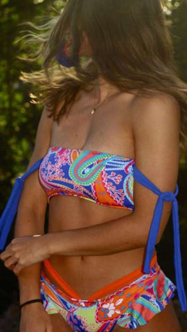 Royal Blue Floral Tube Bikini Sets