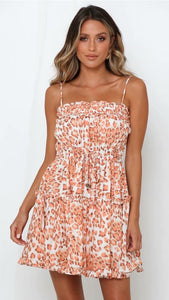 Coral Leopard Print Slip Dress