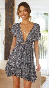 Black Floral Knot Mini Dress