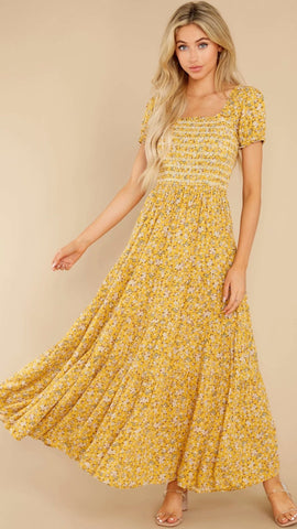 Yellow Floral Smocked Maxi Dress